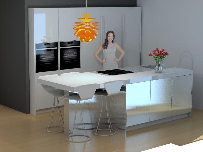 Computertekening van de nieuwe keuken in Maasland.